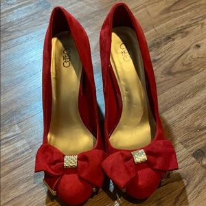 Cato red bow block heels size 9 M